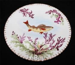 T & V Tressemanes & Vogt Hand Painted Fish Platter with 12 Plates Limoges France