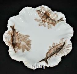 T & V Tressemanes & Vogt Limoges Hand Painted Fish 14 Piece Porcelain Plate Set