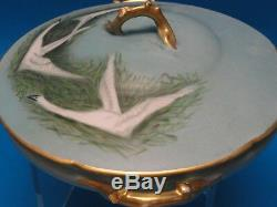 Theodore Haviland Limoges Covered Vegetable Bowl Tureen Hand Painted Signed 1910