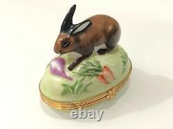 Tiffany & Co Limoges France Hand Painted Bunny Rabbit Porcelain Trinket Box