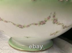 Tressemanes Vogt T&V Limoges Hand Painted Spring Flowers Punch/Centerpiece Bowl