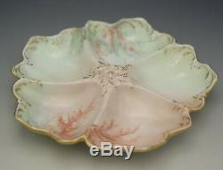 Tressemann Vogt Limoges Oyster Plate Seaweed Hand Painted Antique Porcelain