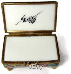 Unusual Limoges Hand Painted Upside Down Trinket Box w Porcelain Poodle