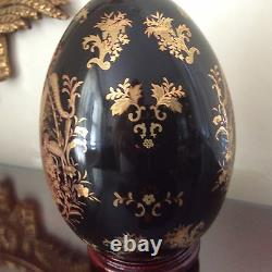 VICTORIAN LIMOGES PORCELAIN DECORATIVE EGG COBALT GOLD Hand Painted 8