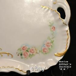 Vanity Dresser Tray 2 Perfume Bottles Hand Painted Artist F. W. Pink Roses withGold