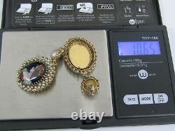 Vintage 14K Gold Limoges Hand Painted Enamel Portrait & Pearls Earrings