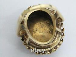 Vintage 14K Ring Limoges Hand Painted Enamel Portrait & Pearls Size 6.75