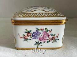 Vintage Antique Retired Large Hand Painted Porcelain de Paris Trinket Box France