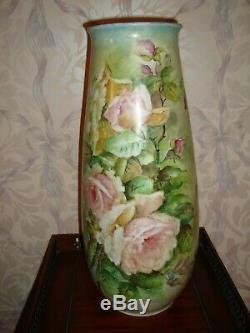 Vintage Bavaria Germany Hand Painted Vase, Pink Roses, Very Large 17