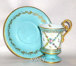 Vintage E. G. Hand Painted Limoges Demitasse Tea or Chocolate Cup / Saucer