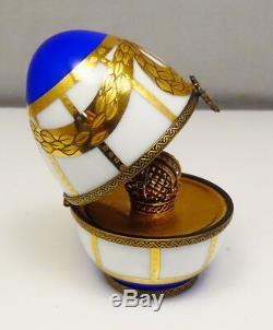 Vintage Faberge Lmt Ed Limoges Hand Painted Porcelain Egg Free Shipping