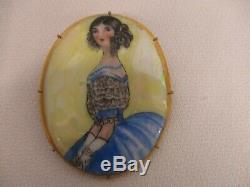 Vintage France Limoges Hand Painted Pretty Lady Pendant Brooch Pin
