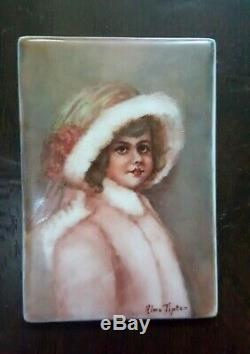 Vintage French Limoges Hand Painted Miniature Portrait On Porcelain Ormolu Frame