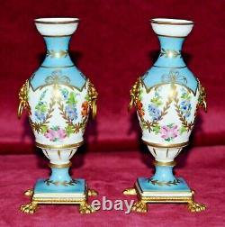 Vintage Giraud Limoges Handpainted Porcelain Gilt Ormolu Pedestal Urn Vases Pair