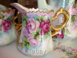 Vintage Hand Painted Bavaria Tray & Tea/coffee Pot, Sugar, Creamer, Roses & Gold