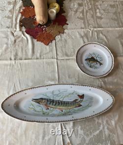 Vintage Hand Painted France Fish Designs Set 12 Dinner Plates & 24 Long Platter