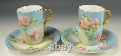 Vintage Hand Painted Roses Chocolate Cups & Saucers