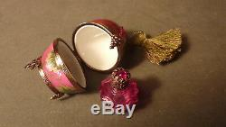 Vintage Hand-painted Jeweled Red Grapes Egg W Perfume Bottle Limoges Trinket Box