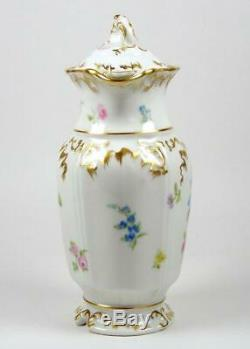 Vintage JP Limoges Chocolate Pot Hand Painted Flowers Heavily Gilded J Pouyat