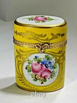 Vintage Limoge France Hand Painted Large Oval Floral & Yellow Color Trinket Box