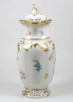 Vintage Limoges Chocolate Pot Hand Painted Flowers & Pink Roses Heavily Gilded