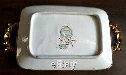 Vintage Limoges France Ormolu Gilt Hand Painted Dish Tray Trinket Brass Trim
