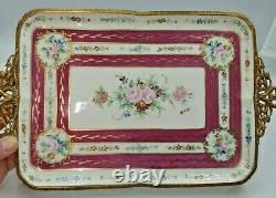 Vintage Limoges Hand Painted& Signed, Gilded & Mounted Tray-Décor Main Paris