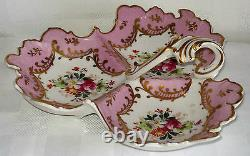 Vintage Limoges Hand-painted Porcelain Tripartite Bonbon Dish (france)