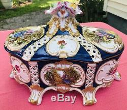 Vintage Limoges Lidded Box Or Dish Hand Painted Victorian Couple Beautiful! MINT
