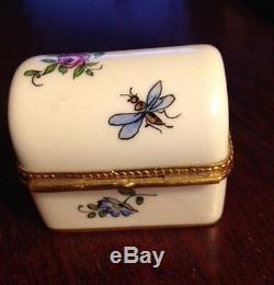 Vintage Limoges Porcelain Barrel Top Trinket Box Hand-painted for Tiffany & Co
