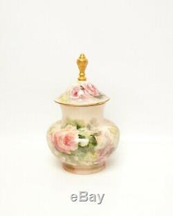 Vintage Limoges Porcelain Jar With Finial Hand Painted Roses Artist L Gould