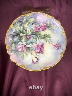 Vintage Limoges Style Hand Painted Fuchsias Floral Platter/Charger Artist Signed