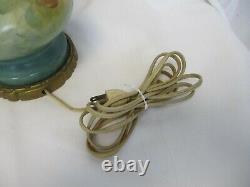 Vintage Limoges Style Lamps Hand Painted & Signed Floral Design Porcelain Pair