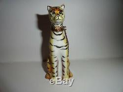 Vintage Limoges Tiger Tabby Cat Hand Painted Trinket Box