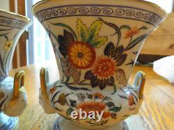 Vintage Pair Le Tallec Urns Vases Planters Limoges Hand Painted Porcelain France