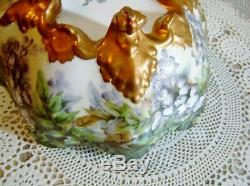 Vintage T&V LIMOGES Hand Painted Artist Signed Footed Console Bowl