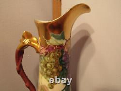 Vintage T&V Limoges HandPainted Signed B. Hagehson Grape Motif& Gold Trim Pitcher