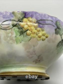 Vintage T. & V. Limoges Large Hand-Painted Punch Bowl with Grapes Signed Jones