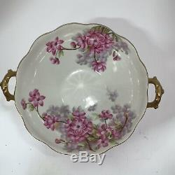 Vintage T&V Limoges hand painted bowl with handles