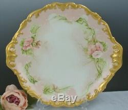 Vintage T&V Tressemann & Vogt France Hand Painted Charger Plate Roses 14-3/8