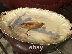 Vintage limoges hand painted platter And 6 Plates, Game Bird Motif