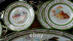 Vtg. Limoges Bassett Fish platter &11 Plates hand painted Art 20x8.5 & 8.5