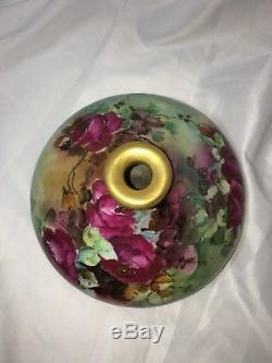 Vtg Limoges Large Squat Vase Hand Painted Burgundy Wine Roses Elite France Bawo