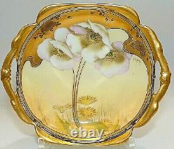 W. A. Pickard Hand Painted Gasper White Lilies Gold Encrusted Plate/dish/bowl
