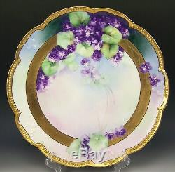 White Art Chicago Limoges Hand Painted Violets Gold 14 Charger Signed E. White