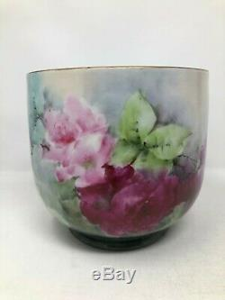William Guerin WG Limoges France Hand Painted Pink Red Roses Jardiniere