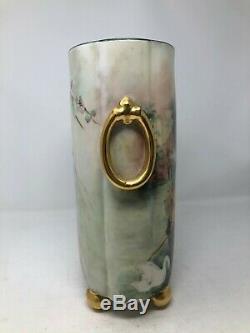 William Guerin WG Limoges Hand Painted Ladies Gondola Swan Lake Vase Cachepot