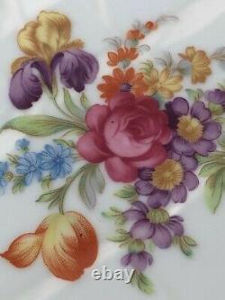 10 Assiettes À Dîner Peintes À La Main En Porcelaine Allemande Avec Décor Floral Oscar De La Renta