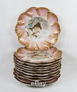 11 Assiettes De Poisson En Porcelaine De Limoges Peintes À La Main, Assortiment