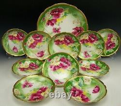 11 Pièces Limoges Peinte À La Main Floral Green Gold Ice Cream Dessert Set